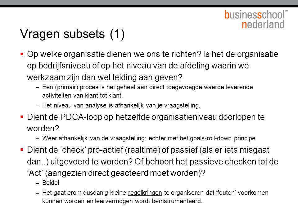Vragen subsets (1)  Op welke organisatie dienen we ons te richten? Is het de organisatie op bedrijfsniveau of op het niveau van de afdeling waarin we