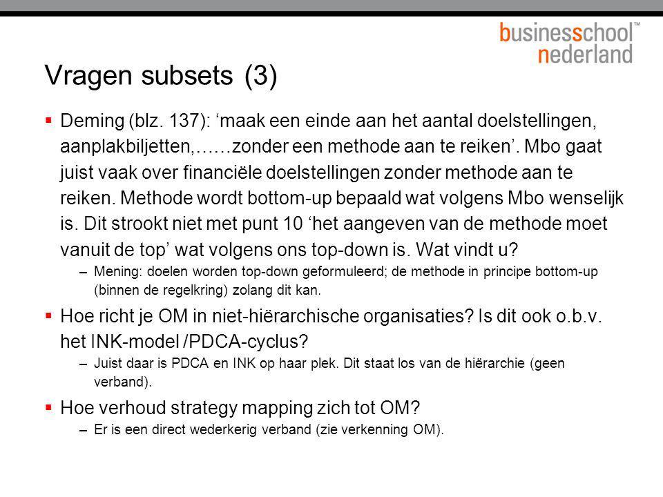 Vragen subsets (3)  Deming (blz. 137): 'maak een einde aan het aantal doelstellingen, aanplakbiljetten,……zonder een methode aan te reiken'. Mbo gaat