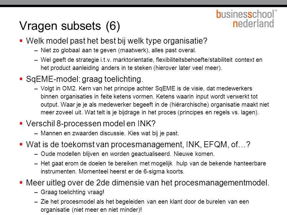 Vragen subsets (6)  Welk model past het best bij welk type organisatie? –Niet zo globaal aan te geven (maatwerk), alles past overal. –Wel geeft de st