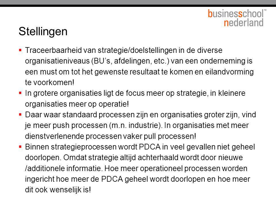 Stellingen  Traceerbaarheid van strategie/doelstellingen in de diverse organisatieniveaus (BU's, afdelingen, etc.) van een onderneming is een must om
