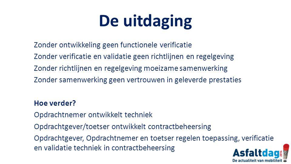 De uitdaging Zonder ontwikkeling geen functionele verificatie Zonder verificatie en validatie geen richtlijnen en regelgeving Zonder richtlijnen en re