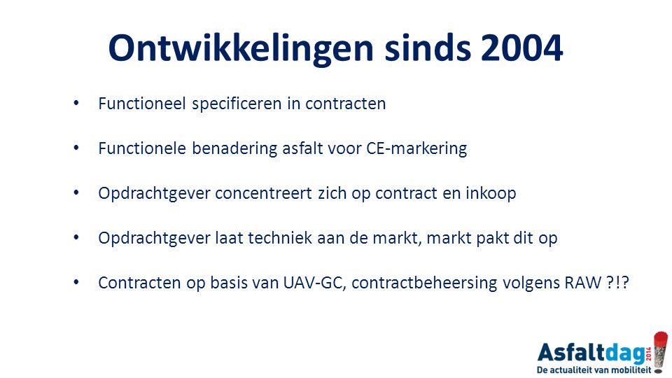 Ontwikkelingen sinds 2004 Functioneel specificeren in contracten Functionele benadering asfalt voor CE-markering Opdrachtgever concentreert zich op co