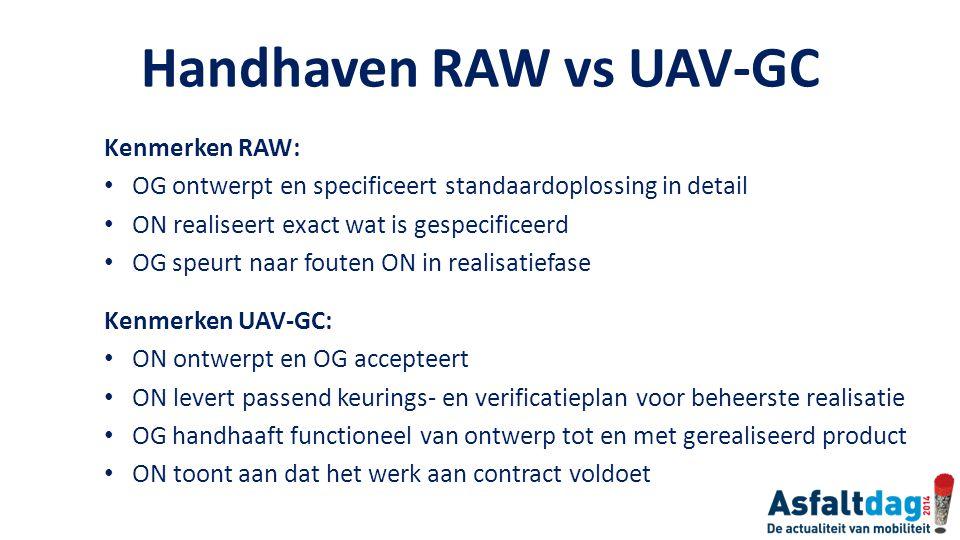 Handhaven RAW vs UAV-GC Kenmerken RAW: OG ontwerpt en specificeert standaardoplossing in detail ON realiseert exact wat is gespecificeerd OG speurt na