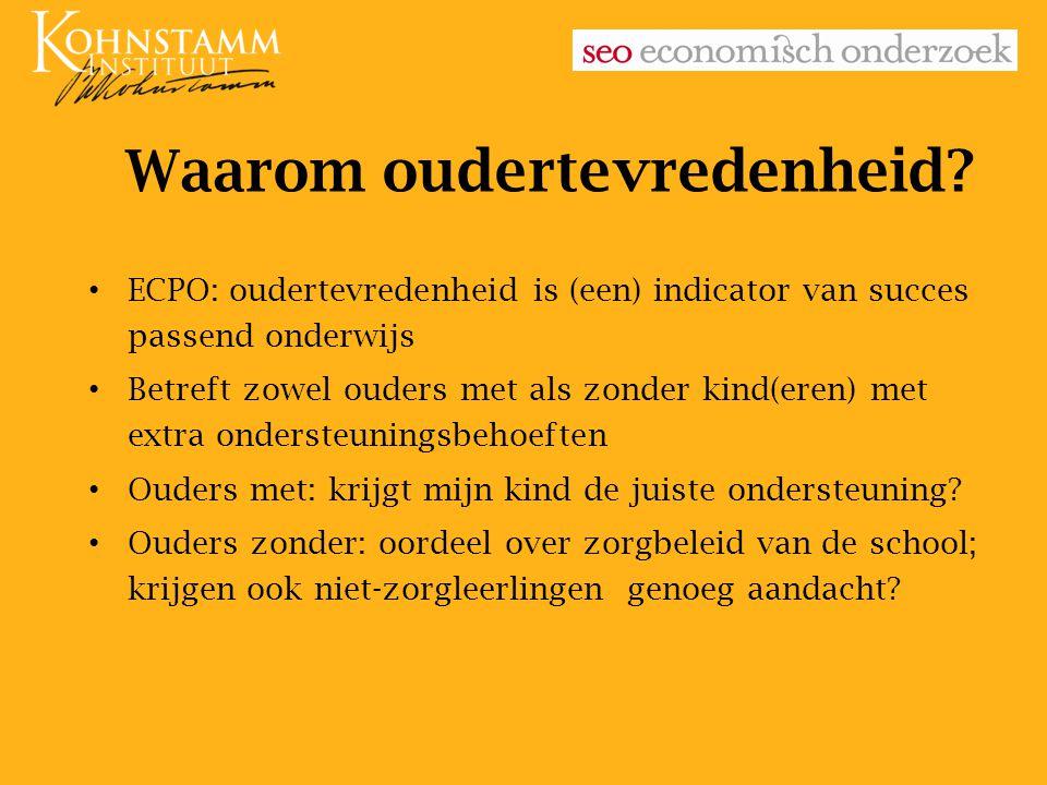Waarom oudertevredenheid? ECPO: oudertevredenheid is (een) indicator van succes passend onderwijs Betreft zowel ouders met als zonder kind(eren) met e