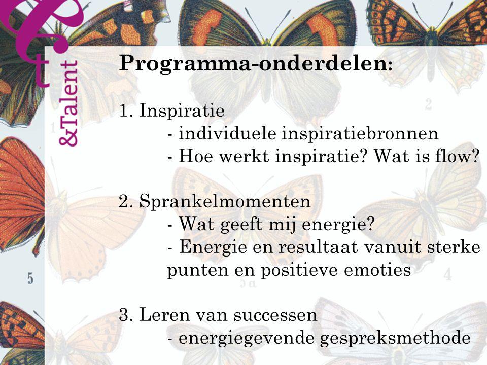 Programma-onderdelen : 1. Inspiratie - individuele inspiratiebronnen - Hoe werkt inspiratie.