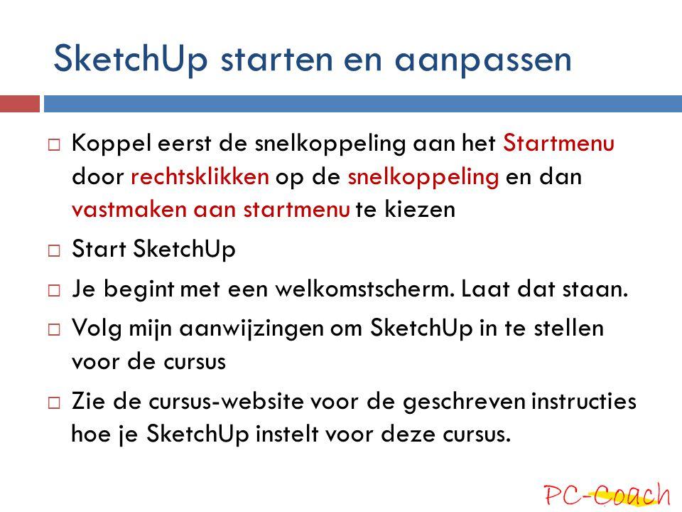 SketchUp starten en aanpassen  Koppel eerst de snelkoppeling aan het Startmenu door rechtsklikken op de snelkoppeling en dan vastmaken aan startmenu