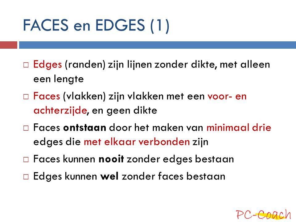 FACES en EDGES (1)  Edges (randen) zijn lijnen zonder dikte, met alleen een lengte  Faces (vlakken) zijn vlakken met een voor- en achterzijde, en ge