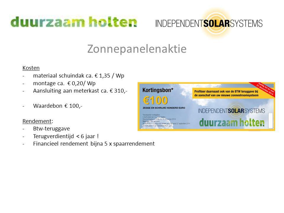 Zonnepanelenaktie Kosten -materiaal schuindak ca. € 1,35 / Wp -montage ca. € 0,20/ Wp -Aansluiting aan meterkast ca. € 310,- -Waardebon € 100,- Rendem