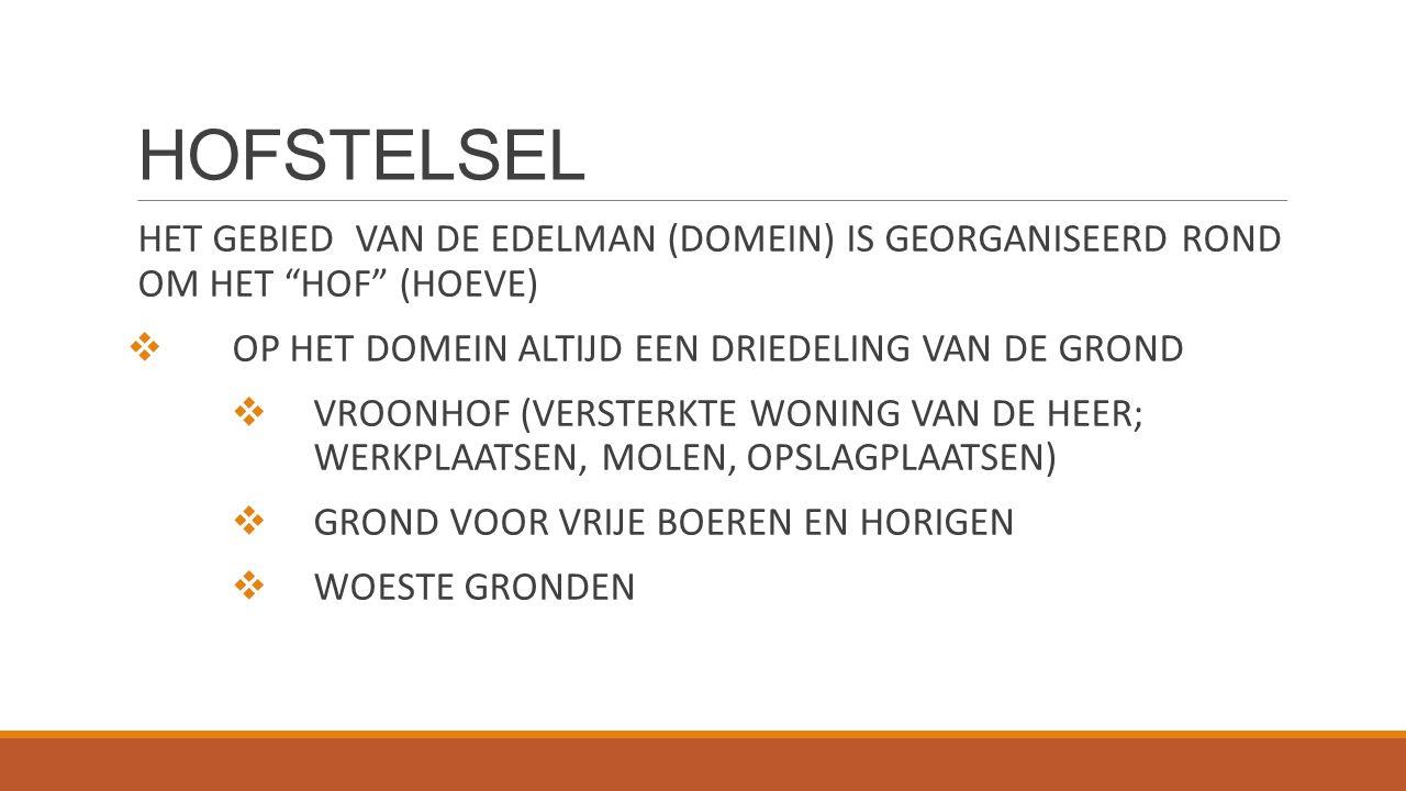 """HOFSTELSEL HET GEBIED VAN DE EDELMAN (DOMEIN) IS GEORGANISEERD ROND OM HET """"HOF"""" (HOEVE)  OP HET DOMEIN ALTIJD EEN DRIEDELING VAN DE GROND  VROONHOF"""
