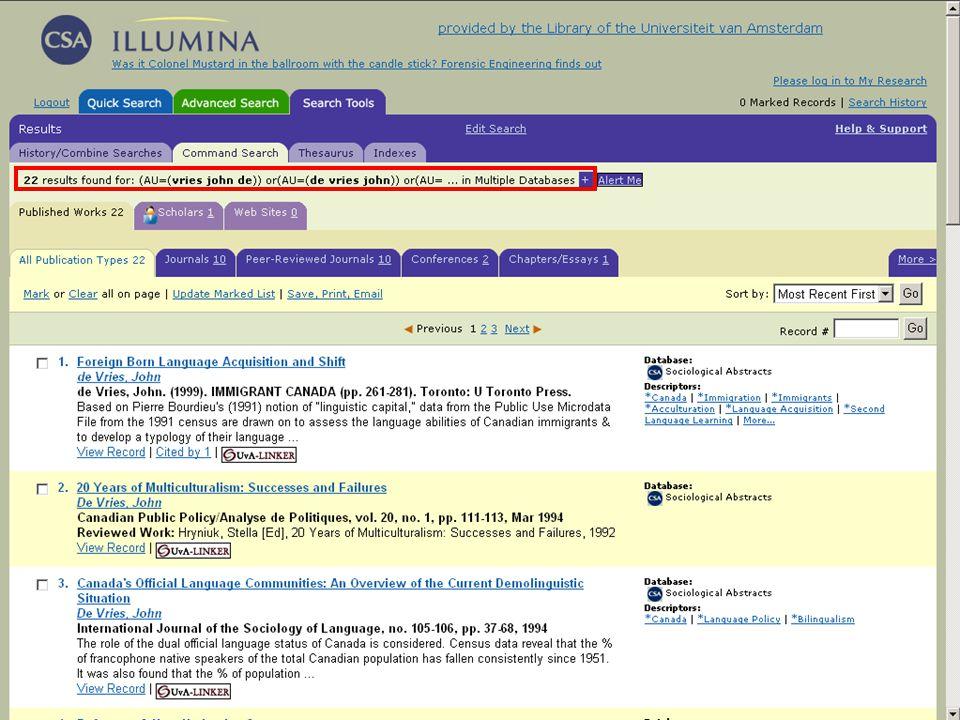 Samenvatting Zoek via de auteursindex op varianten van de achternaam Zoek in Engelstalige databases bij namen met voorvoegsels zowel met als zonder deze voorvoegsels