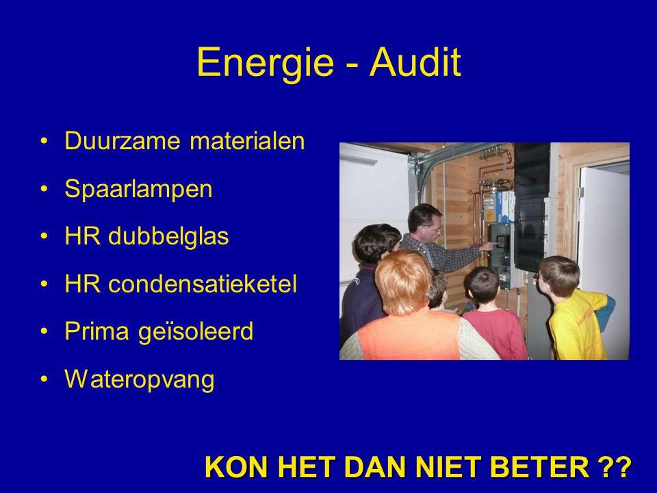 Energie - Audit Duurzame materialen Spaarlampen HR dubbelglas HR condensatieketel Prima geïsoleerd Wateropvang KON HET DAN NIET BETER