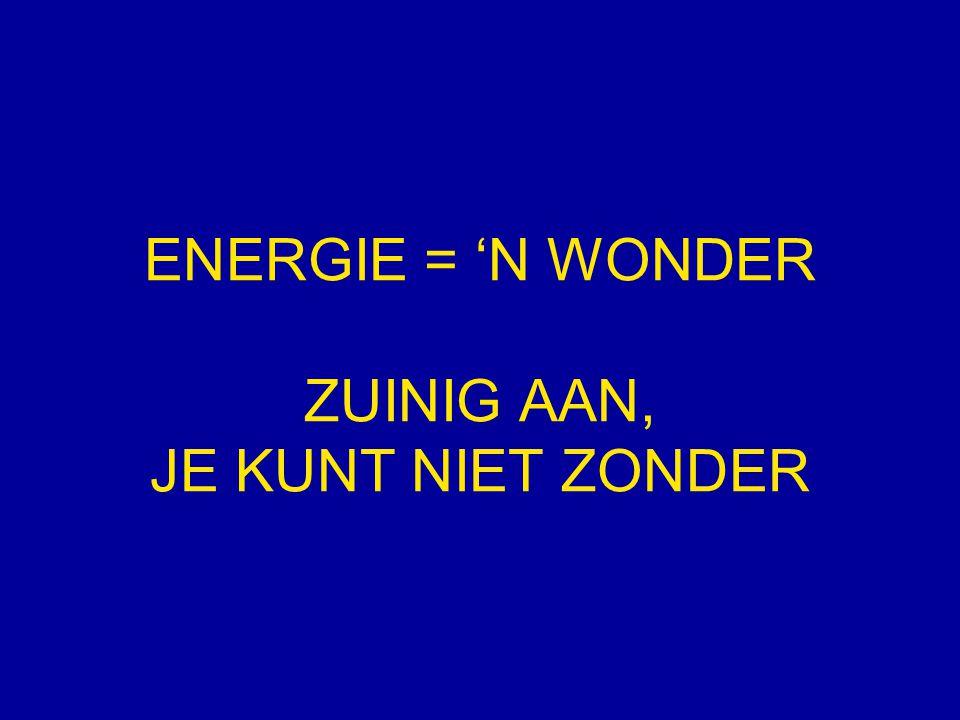 ENERGIE = 'N WONDER ZUINIG AAN, JE KUNT NIET ZONDER