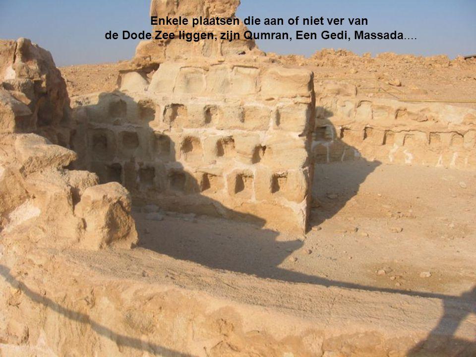 Enkele plaatsen die aan of niet ver van de Dode Zee liggen, zijn Qumran, Een Gedi, Massada....