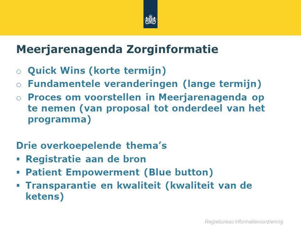 Regiebureau Informatievoorziening Meerjarenagenda Zorginformatie o Quick Wins (korte termijn) o Fundamentele veranderingen (lange termijn) o Proces om voorstellen in Meerjarenagenda op te nemen (van proposal tot onderdeel van het programma) Drie overkoepelende thema's  Registratie aan de bron  Patient Empowerment (Blue button)  Transparantie en kwaliteit (kwaliteit van de ketens)