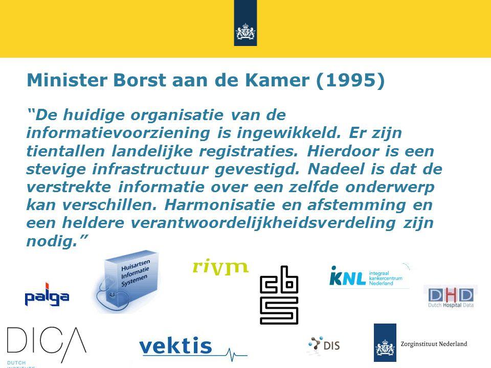 Minister Borst aan de Kamer (1995) De huidige organisatie van de informatievoorziening is ingewikkeld.