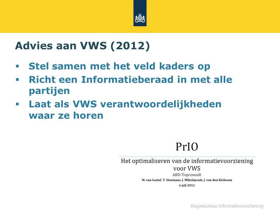 Regiebureau Informatievoorziening Advies aan VWS (2012)  Stel samen met het veld kaders op  Richt een Informatieberaad in met alle partijen  Laat als VWS verantwoordelijkheden waar ze horen