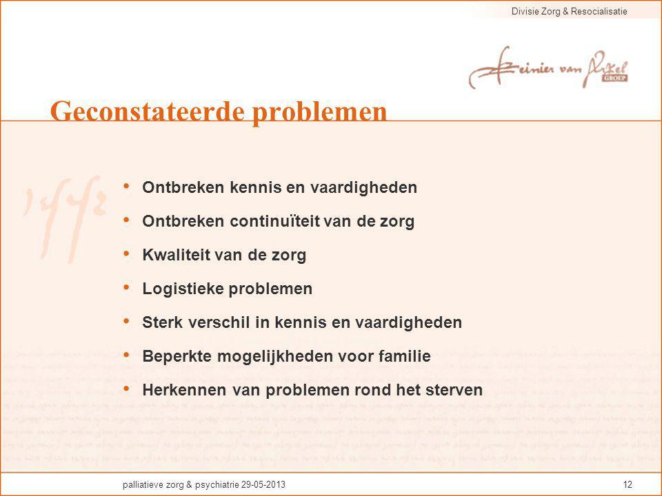 Divisie Zorg & Resocialisatie palliatieve zorg & psychiatrie 29-05-201312 Geconstateerde problemen Ontbreken kennis en vaardigheden Ontbreken continuï