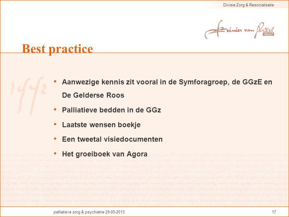 Divisie Zorg & Resocialisatie palliatieve zorg & psychiatrie 29-05-201317 Best practice Aanwezige kennis zit vooral in de Symforagroep, de GGzE en De