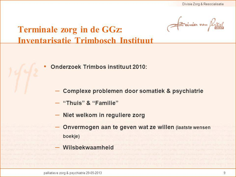 Divisie Zorg & Resocialisatie palliatieve zorg & psychiatrie 29-05-201320 Voor terminale fase