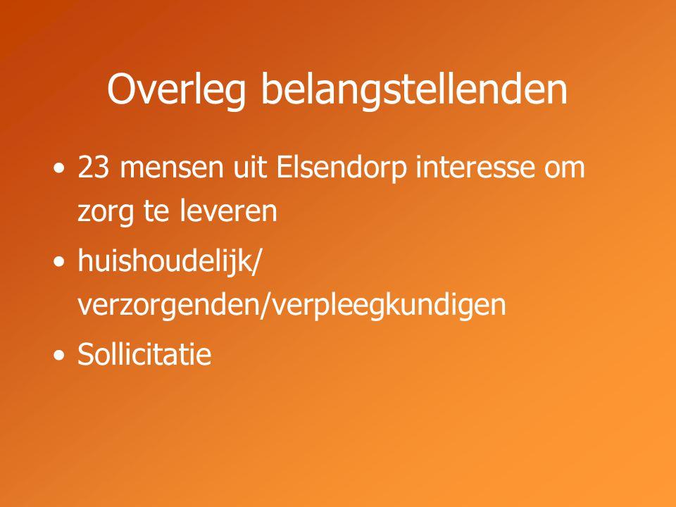 Overleg belangstellenden 23 mensen uit Elsendorp interesse om zorg te leveren huishoudelijk/ verzorgenden/verpleegkundigen Sollicitatie