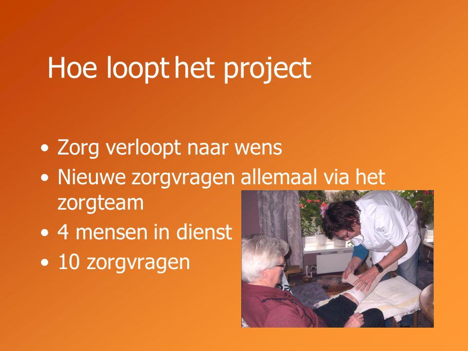 Zorg verloopt naar wens Nieuwe zorgvragen allemaal via het zorgteam 4 mensen in dienst 10 zorgvragen Hoe loopt het project