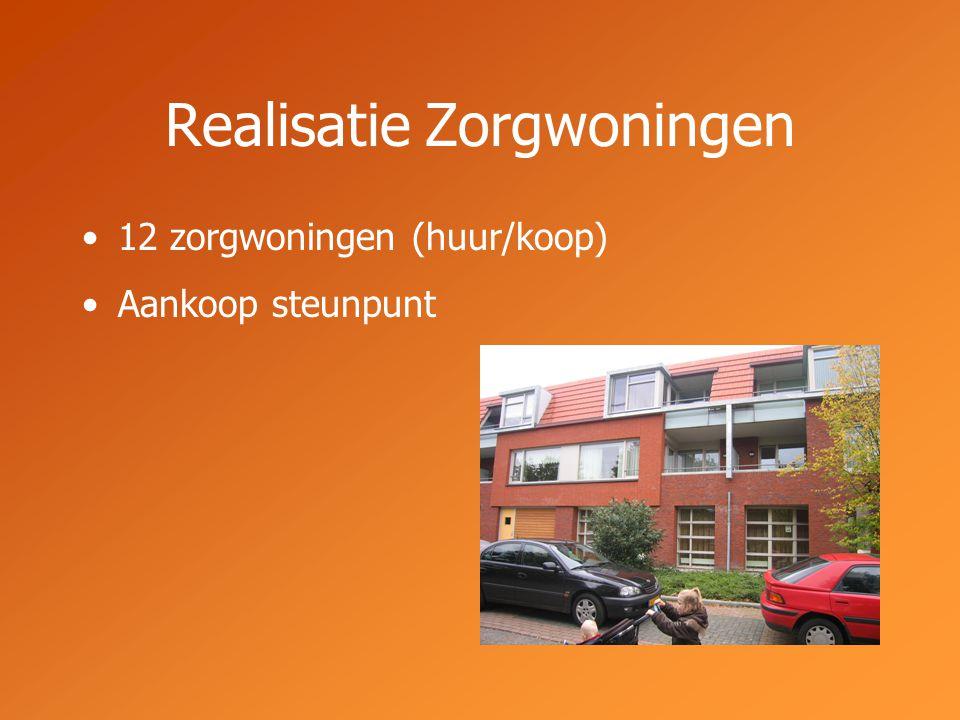 Realisatie Zorgwoningen 12 zorgwoningen (huur/koop) Aankoop steunpunt