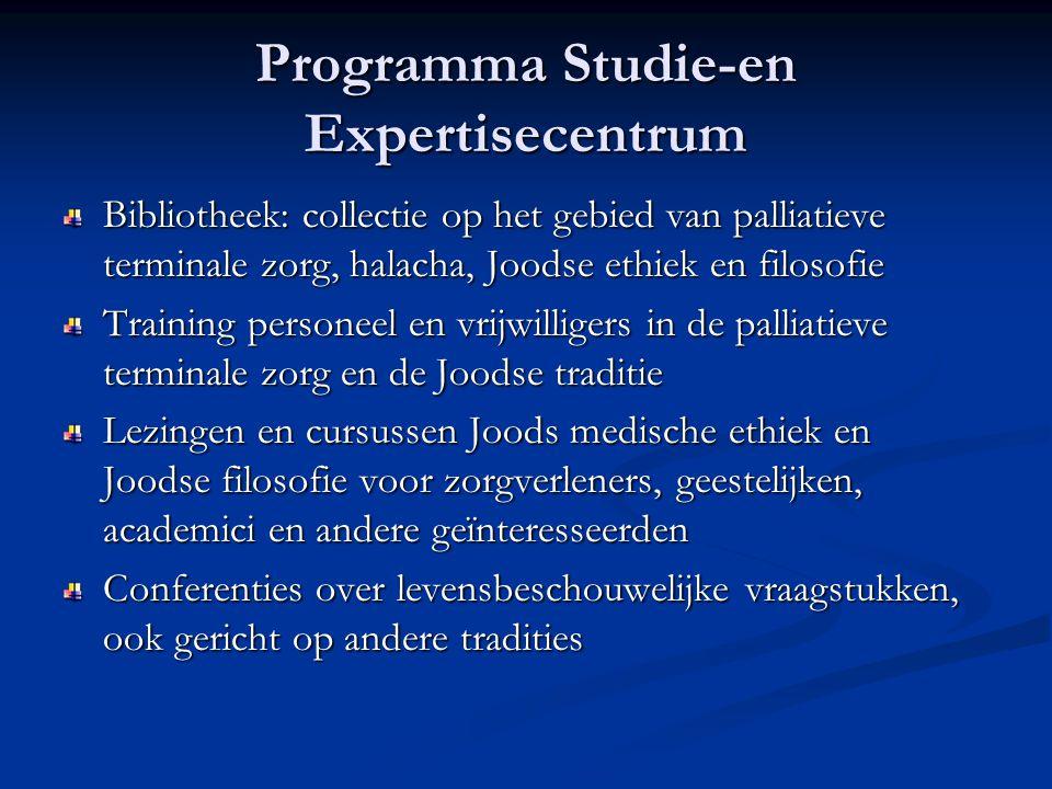 Programma Studie-en Expertisecentrum Bibliotheek: collectie op het gebied van palliatieve terminale zorg, halacha, Joodse ethiek en filosofie Training