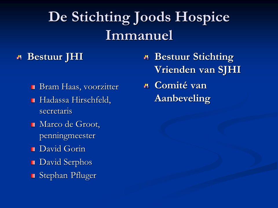 De Stichting Joods Hospice Immanuel Bestuur JHI Bram Haas, voorzitter Hadassa Hirschfeld, secretaris Marco de Groot, penningmeester David Gorin David