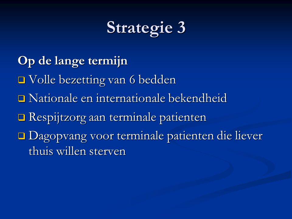 Strategie 3 Op de lange termijn  Volle bezetting van 6 bedden  Nationale en internationale bekendheid  Respijtzorg aan terminale patienten  Dagopv