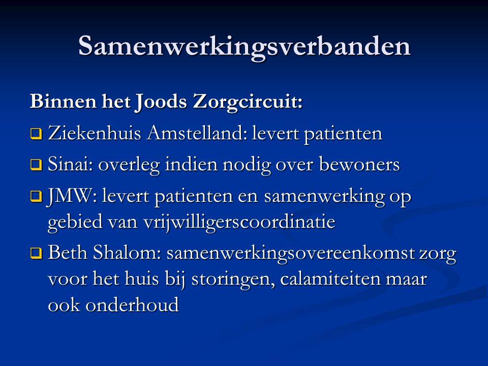 Samenwerkingsverbanden Binnen het Joods Zorgcircuit:  Ziekenhuis Amstelland: levert patienten  Sinai: overleg indien nodig over bewoners  JMW: leve