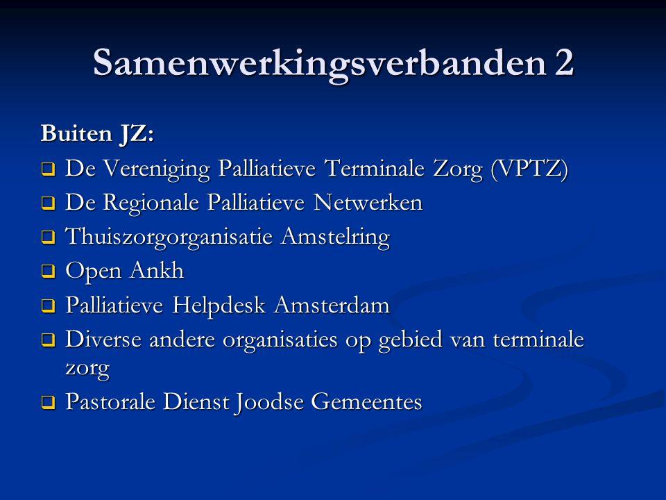 Samenwerkingsverbanden 2 Buiten JZ:  De Vereniging Palliatieve Terminale Zorg (VPTZ)  De Regionale Palliatieve Netwerken  Thuiszorgorganisatie Amst