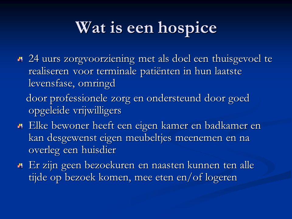 Wat is een hospice 24 uurs zorgvoorziening met als doel een thuisgevoel te realiseren voor terminale patiënten in hun laatste levensfase, omringd door