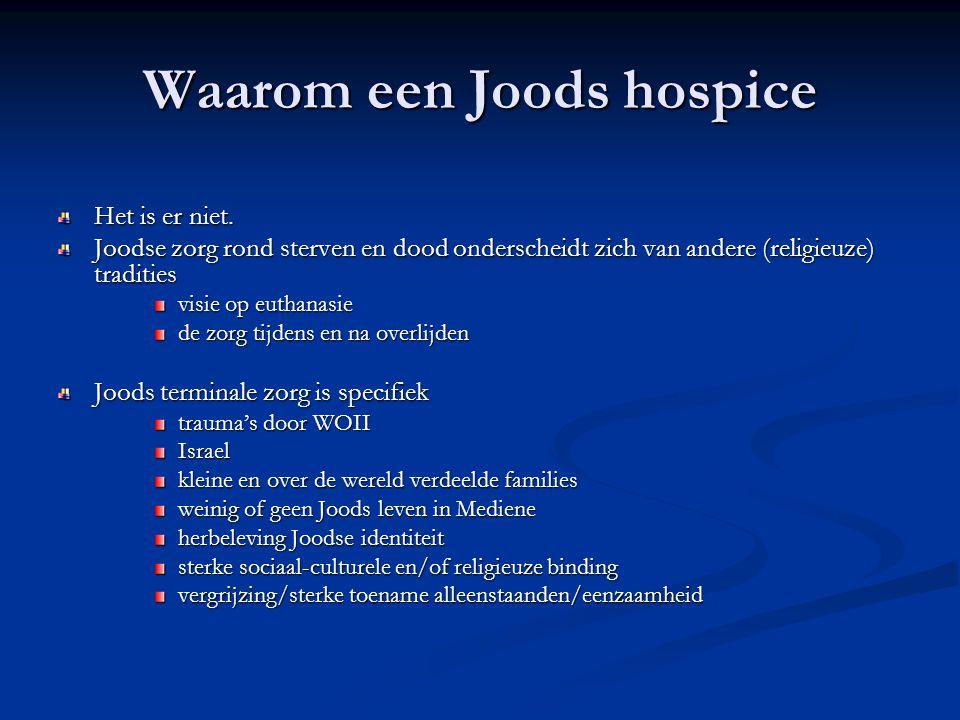 Waarom een Joods hospice Het is er niet. Joodse zorg rond sterven en dood onderscheidt zich van andere (religieuze) tradities visie op euthanasie de z
