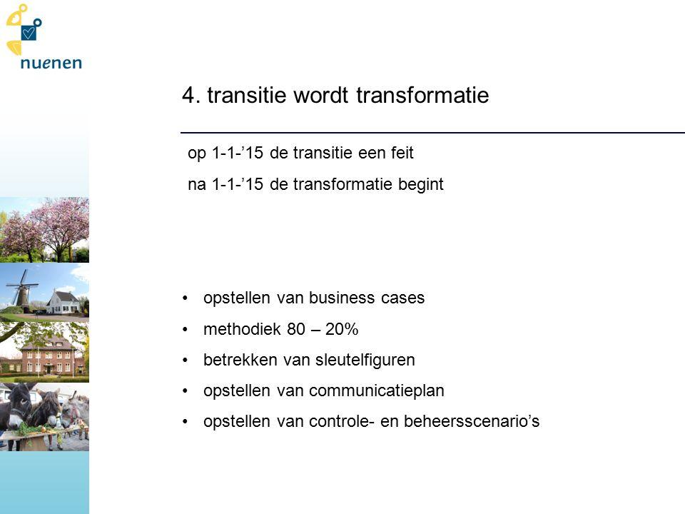 4. transitie wordt transformatie op 1-1-'15 de transitie een feit na 1-1-'15 de transformatie begint opstellen van business cases methodiek 80 – 20% b