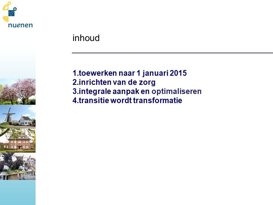 inhoud 1.toewerken naar 1 januari 2015 2.inrichten van de zorg 3.integrale aanpak en optimaliseren 4.transitie wordt transformatie