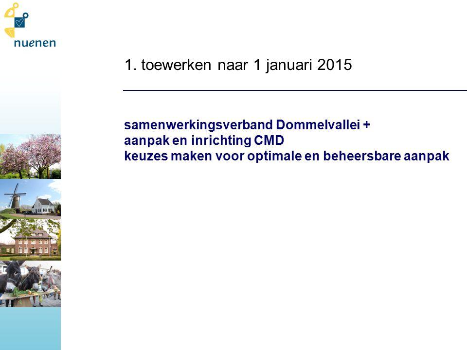 1. toewerken naar 1 januari 2015 samenwerkingsverband Dommelvallei + aanpak en inrichting CMD keuzes maken voor optimale en beheersbare aanpak