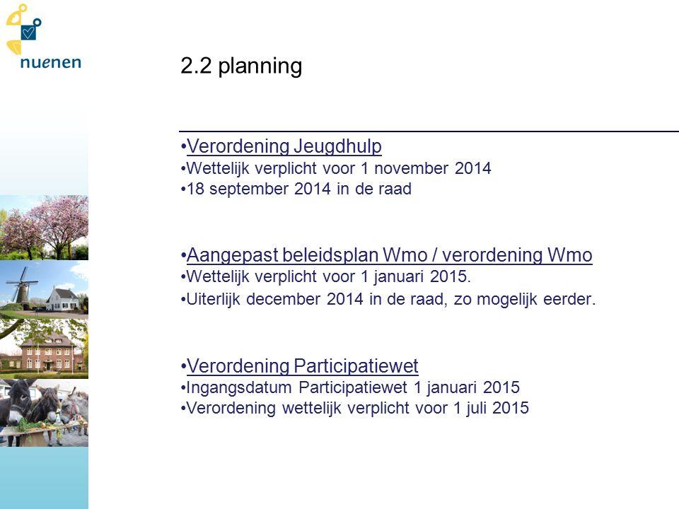2.2 planning Verordening Jeugdhulp Wettelijk verplicht voor 1 november 2014 18 september 2014 in de raad Aangepast beleidsplan Wmo / verordening Wmo Wettelijk verplicht voor 1 januari 2015.
