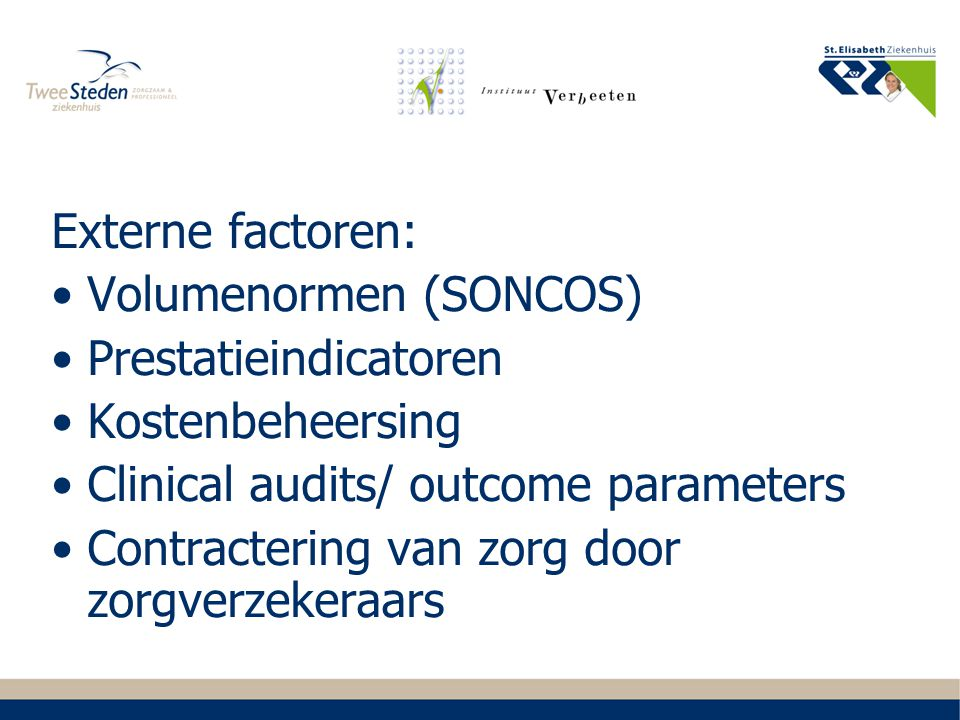 Externe factoren: Volumenormen (SONCOS) Prestatieindicatoren Kostenbeheersing Clinical audits/ outcome parameters Contractering van zorg door zorgverz