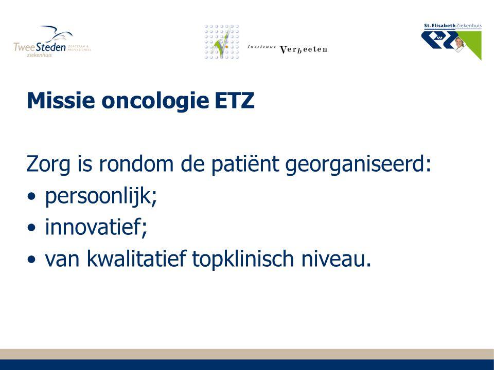 De organisatie van patiëntenzorg gaat via Tumorwerkgroepen. Zorg is vastgelegd in een zorgpad.