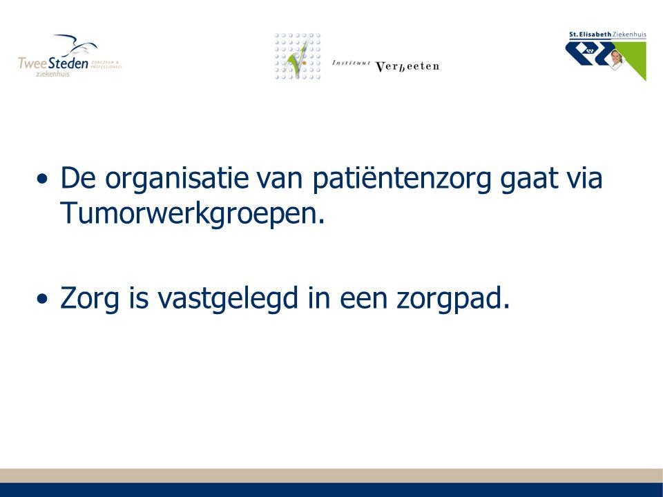 Organisatie van oncologische zorg: Oncologisch beraad (voorzitters tumorwerkgroepen en afvaardiging van alle bij oncologie betrokken sprecialismen).