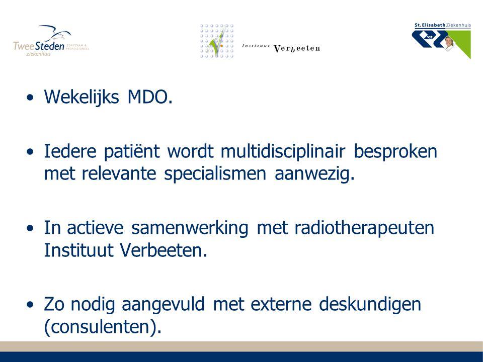 Wekelijks MDO. Iedere patiënt wordt multidisciplinair besproken met relevante specialismen aanwezig. In actieve samenwerking met radiotherapeuten Inst