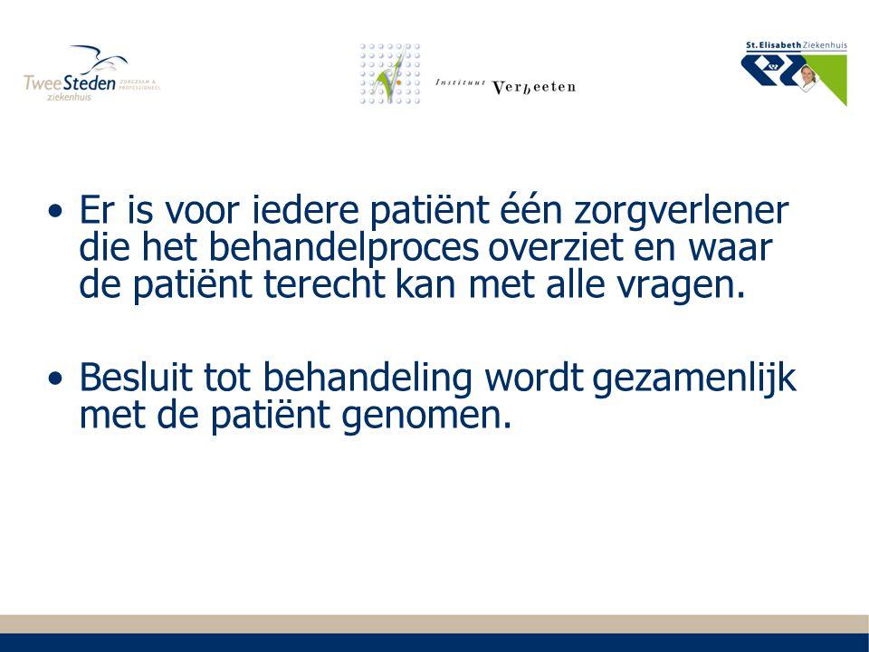 Er is voor iedere patiënt één zorgverlener die het behandelproces overziet en waar de patiënt terecht kan met alle vragen. Besluit tot behandeling wor
