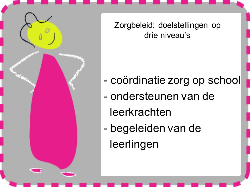 Zorgbeleid: doelstellingen op drie niveau's - coördinatie zorg op school - ondersteunen van de leerkrachten - begeleiden van de leerlingen