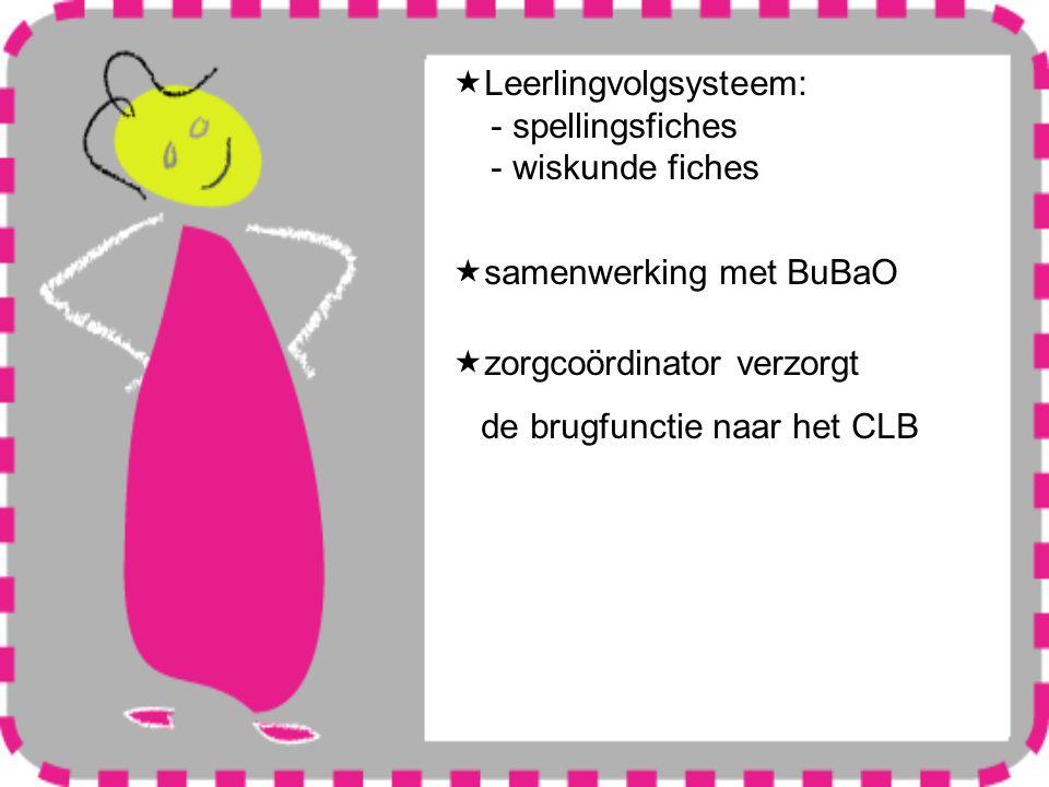  Leerlingvolgsysteem: - spellingsfiches - wiskunde fiches  samenwerking met BuBaO  zorgcoördinator verzorgt de brugfunctie naar het CLB