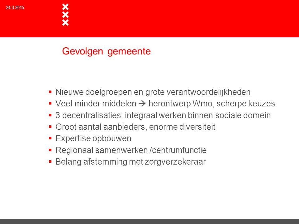 Gevolgen gemeente  Nieuwe doelgroepen en grote verantwoordelijkheden  Veel minder middelen  herontwerp Wmo, scherpe keuzes  3 decentralisaties: in