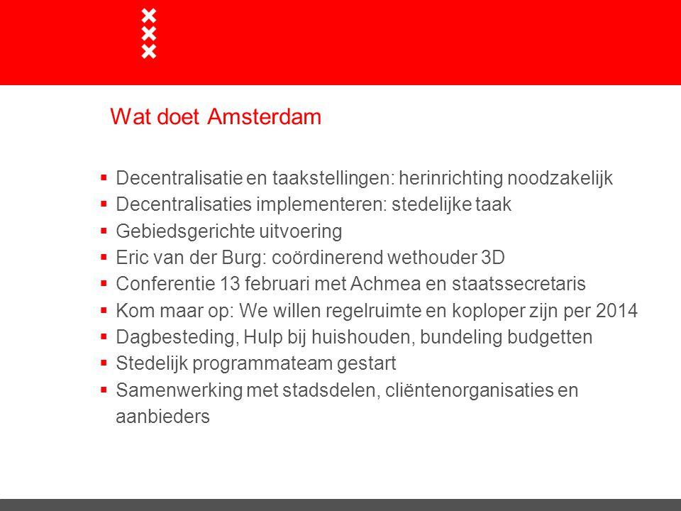 Wat doet Amsterdam  Decentralisatie en taakstellingen: herinrichting noodzakelijk  Decentralisaties implementeren: stedelijke taak  Gebiedsgerichte