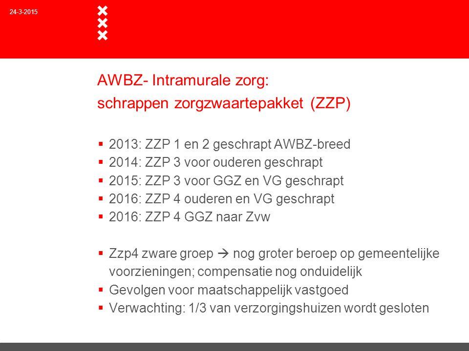 AWBZ- Intramurale zorg: schrappen zorgzwaartepakket (ZZP)  2013: ZZP 1 en 2 geschrapt AWBZ-breed  2014: ZZP 3 voor ouderen geschrapt  2015: ZZP 3 v