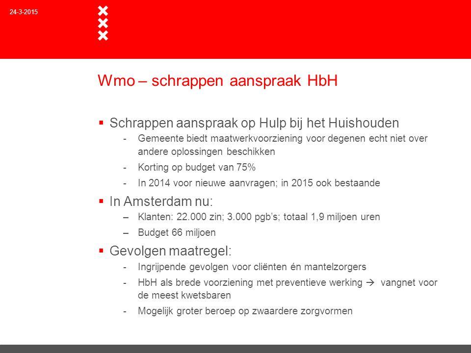 Wmo – schrappen aanspraak HbH  Schrappen aanspraak op Hulp bij het Huishouden -Gemeente biedt maatwerkvoorziening voor degenen echt niet over andere
