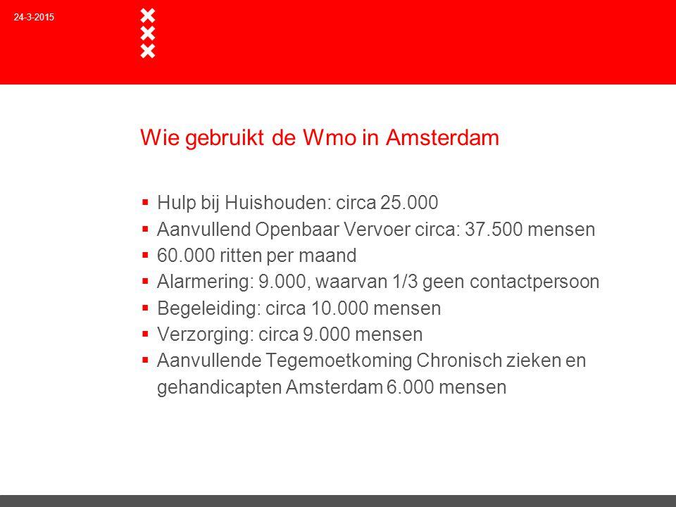 Wie gebruikt de Wmo in Amsterdam  Hulp bij Huishouden: circa 25.000  Aanvullend Openbaar Vervoer circa: 37.500 mensen  60.000 ritten per maand  Al