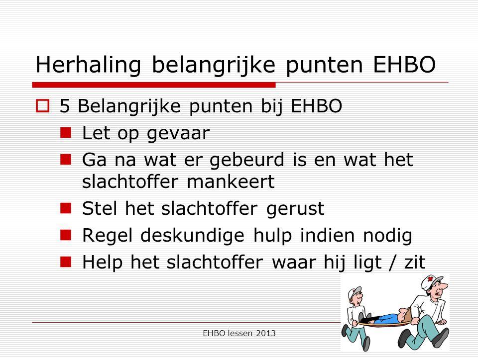 EHBO lessen 2013 Herhaling belangrijke punten EHBO  5 Belangrijke punten bij EHBO Let op gevaar Ga na wat er gebeurd is en wat het slachtoffer mankee